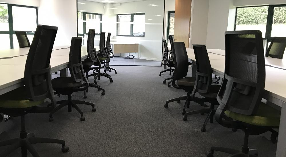 Call centre seating and glazed office.
