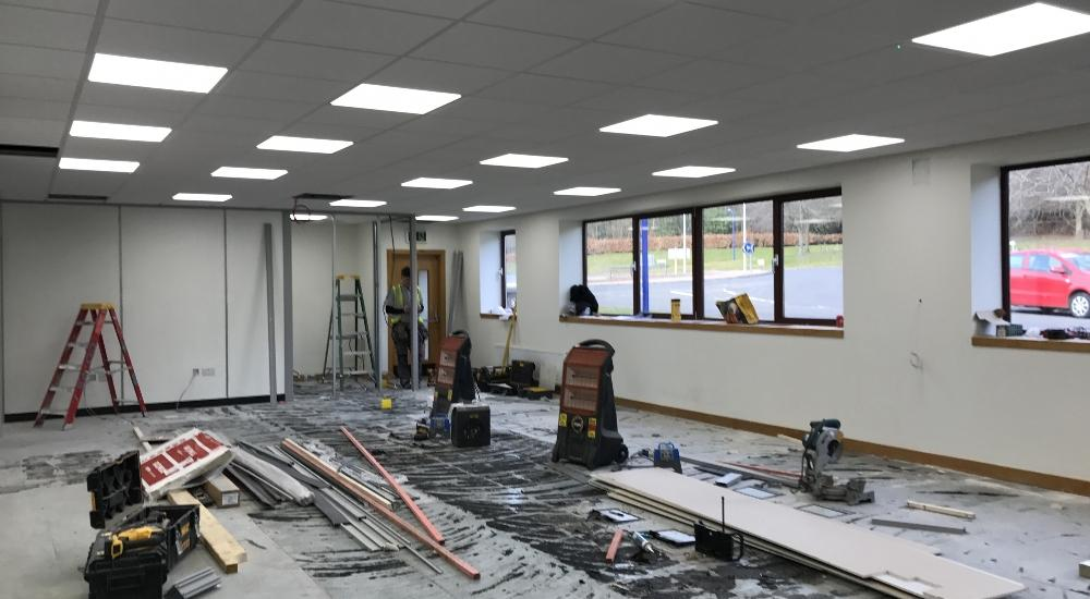 LED lighting and partitioning in progress.